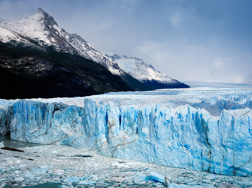 NATIONAL PARK LOS GLACIARES, ARGENTINA - CIRCA FEBRUARY 2019: View of the Glacier Perito Moreno, a famous landmark within the Los Glaciares National Park in Argentina