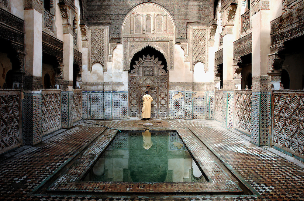 """Fes el Bali, Morocco, 25 October 2006<br /> A Madrasa (also Medersa, a koranic school) of Fes.<br /> Fes is one of the four so-called """"imperial cities"""" . The Medina of Fes is believed to be the largest contiguous car-free urban area in the world. <br /> Fes el Bali is classified as a UNESCO World Heritage Site.<br /> Photo: Ezequiel Scagnetti"""