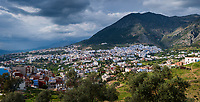CHEFCHAOUEN, MOROCCO - CIRCA MAY 2018: Panoramic view of Chefchaouen and the Rif mountains.
