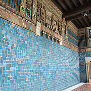 A loggia decorated in the style of Maya art at the Art Museum of the Americas, housed in a 1912 Spanish colonial building that is part of the Organization of American States complex in Washington DC's Foggy Bottom district.