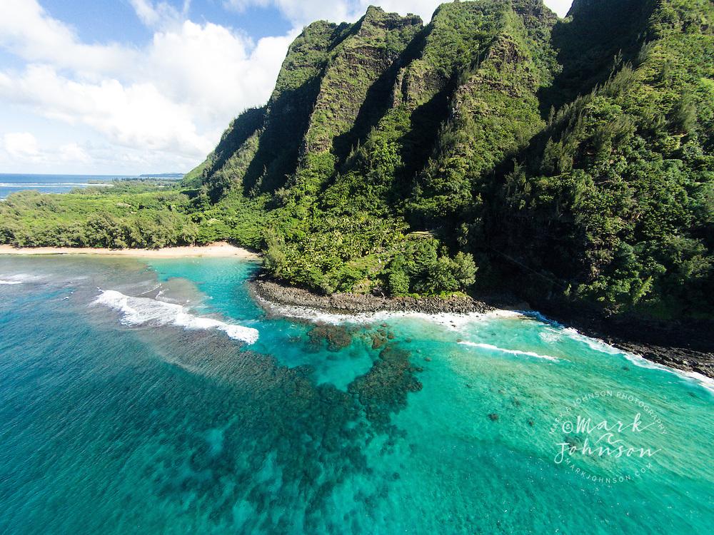 Aerial of Ke'e Beach, Na Pali Coast, Kauai, Hawaii, USA