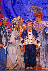 "© Licensed to London News Pictures. 05/12/2013. London, England. L-R: David Bedella, Claire-Marie Hall, Oliver Thornton, Jo Brand and Matthew Kelly. The Panto Aladdin starring Jo Brand as the Genie of the Ring and Matthew Kelly as Widow Twankey opens at the New Wimbledon Theatre, Wimbledon, London. From 4 December 2013 to 10 January 2014. Further actors: the dance group ""Flawless"" as the Peking Police Force, Oliver Thornton as Aladdin, David Bedella as Abanazar, Claire-Marie Hall as Princess Jasmine. Photo credit: Bettina Strenske/LNP"