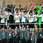 Jubilant Besiktas's lifting up the cup at the ceremony during their after the Turkey Cup final match Besiktas between Istanbul BB at the Kadir Has Arena at Kayseri Turkey on wednesday, 11 May 2011. Photo by TURKPIX