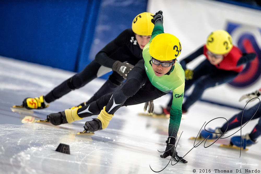 March 20, 2016 - Verona, WI - Marc Gonzales, skater number 34 competes in US Speedskating Short Track Age Group Nationals and AmCup Final held at the Verona Ice Arena.