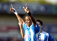 Photo: Olly Greenwood.<br />Colchester United v West Bromwich Albion. Coca Cola Championship. 20/10/2007. Colchester's Kevin Lisbie celebrates scoring