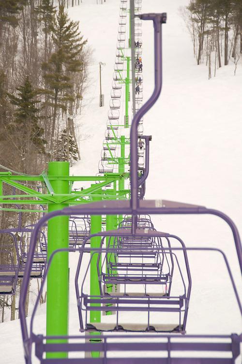 Empty ski lifts on a slow day at Mount Bohemia ski resort in Michigans Upper Peninsula.