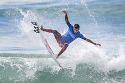 September 15, 2017 - San Onofre, California, USA - Filipe Toledo of Brazil gets some air as he surfs his way to defeating Jordy Smith of South Africa in the final of the Hurley Pro at Trestles held at San Onofre State Beach. (Credit Image: © Mark Rightmire/The Orange County Register via ZUMA Wire)