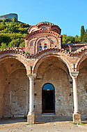 The ruins of the Byzantine Church of St Sophia in the Monastery of Christ The Giver Of Life built by Manuel Kantakouzenos in the late 1300's.  Mystras ,  Sparta, the Peloponnese, Greece. A UNESCO World Heritage Site .<br /> <br /> Visit our GREEK HISTORIC PLACES PHOTO COLLECTIONS for more photos to download or buy as wall art prints https://funkystock.photoshelter.com/gallery-collection/Pictures-Images-of-Greece-Photos-of-Greek-Historic-Landmark-Sites/C0000w6e8OkknEb8 <br /> .<br /> <br /> Visit our BYZANTINE ART PHOTO COLLECTION for more   photos  to download or buy as prints https://funkystock.photoshelter.com/gallery-collection/Roman-Byzantine-Art-Artefacts-Antiquities-Historic-Sites-Pictures-Images-of/C0000lW_87AclrOk