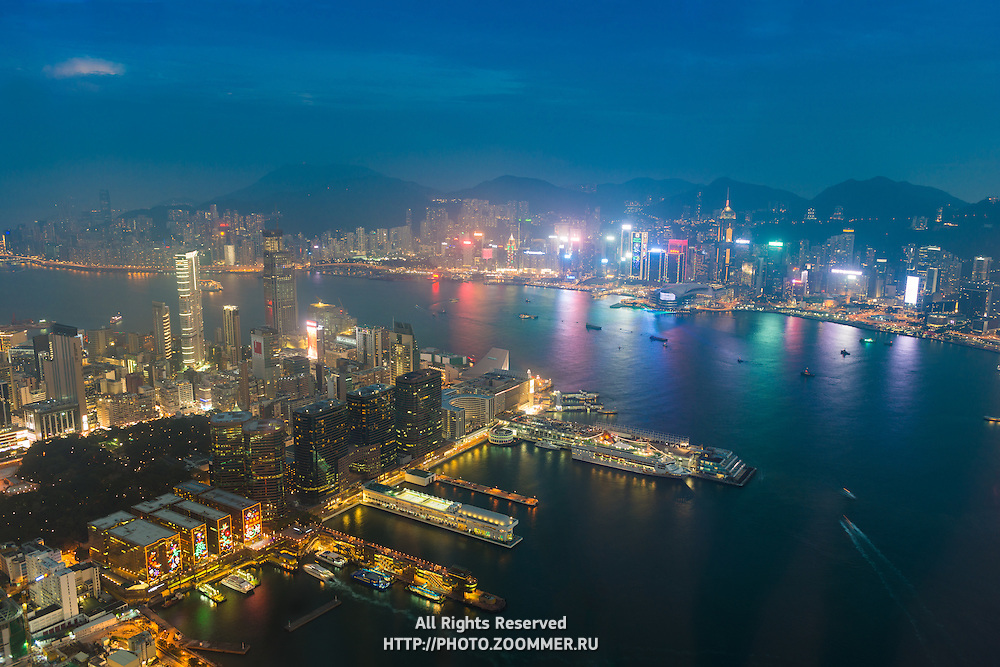 Panorama of Hong Kong From Sky100 Skyscraper