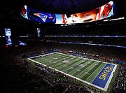 Tom Brady on wraparound LED board during Super Bowl LIII.