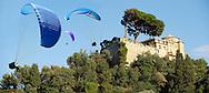 Portofino . Castle Brown. Paragliders.  Italy