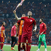 Galatasaray's Burak Yilmaz celebrate victory during their Turkish Super League soccer match Galatasaray between Genclerbirligi at the AliSamiYen Spor Kompleksi TT Arena at Seyrantepe in Istanbul Turkey on Saturday, 16 May 2015. Photo by Kurtulus YILMAZ/TURKPIX
