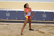 Ana Peleteiro (Spain) beats her chest in the Women's Triple Jump, during the European Athletics Indoor Championships at Emirates Arena, Glasgow, United Kingdom on 3 March 2019.