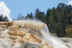 Mammoth Hot Springs, travertine terraces, Yellowstone National Park. Several key ingredients combine to make the Mammoth Hot Springs Terraces: heat, water, limestone, and a rock fracture system through which hot water can reach the earth's surface.