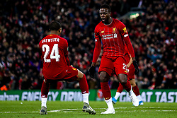 Divock Origi of Liverpool celebrates with Rhian Brewster of Liverpool after scoring a goal to make it 4-4 - Mandatory by-line: Robbie Stephenson/JMP - 30/10/2019 - FOOTBALL - Anfield - Liverpool, England - Liverpool v Arsenal - Carabao Cup