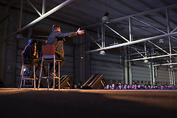 "December 21, 2017 - Sevilla, Spain - WWE Superstars ""The Miz"" and Alicia Fox answer questions during Chairman?'s USO Holiday Tour at Moon Air Base Dec. 21, 2017. Marine Corps Gen. Joe Dunford, chairman of the Joint Chiefs of Staff, and Command Sgt. Maj. John W. Troxell, senior enlisted advisor to the chairman of the Joint Chiefs of Staff, along with USO entertainers, visited service members who are deployed from home during the holidays at various locations across Europe and the Middle East. .(Credit Image: ? US Navy/ZUMA Wire/ZUMAPRESS.com)"