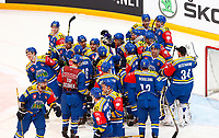 BILDET KAN KUN BRUKES I REDAKSJONELL SAMMENHENG<br /> <br /> BILDET INNGÅR IKEK I FASTAVTALER. ALL NEDLASTING BLIR FAKTURERT.<br /> <br /> Ishockey<br /> 06.10.2015<br /> Foto: Gepa/Digitalsport<br /> NORWAY ONLY<br /> <br /> HAMAR,NORWAY,06.OCT.15 - ICE HOCKEY - CHL, Champions Hockey League, play off, Storhamar Hockey vs EC Red Bull Salzburg. Image shows the rejoicing of Storhamar.