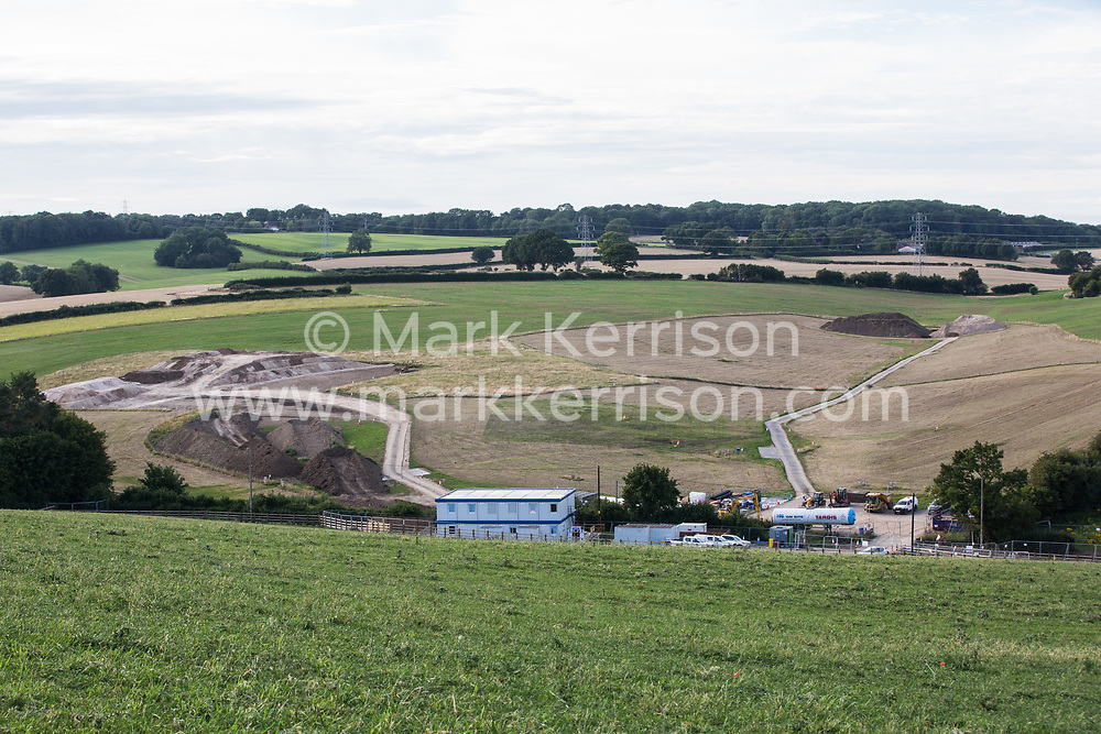 Earth is piled up at the site of a ventilation shaft for the Chiltern Tunnel on the HS2 high-speed rail link on 18th July 2020 in Chalfont St Giles, United Kingdom. The Department for Transport approved the issuing of Notices to Proceed by HS2 Ltd to the four Main Works Civils Contractors (MWCC) working on the £106bn rail project in April 2020.