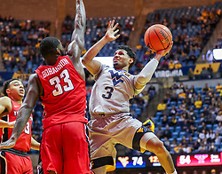 Dec 1, 2018; Morgantown, WV, USA; West Virginia Mountaineers guard James Bolden (3) shoots in the lane during the second half against the Youngstown State Penguins at WVU Coliseum. Mandatory Credit: Ben Queen-USA TODAY Sports
