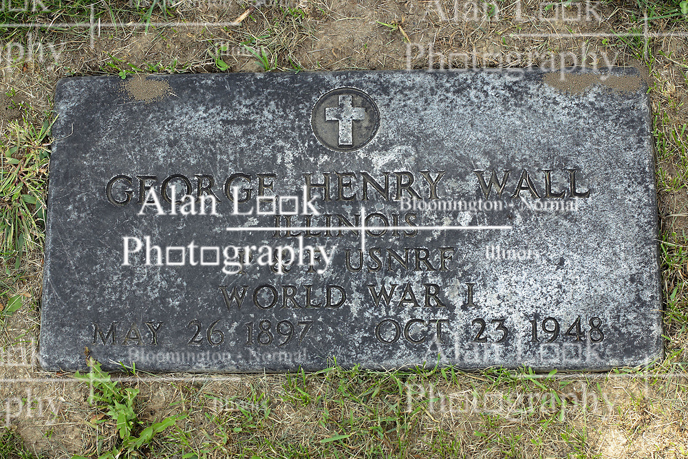 31 August 2017:   Veterans graves in Park Hill Cemetery in eastern McLean County.<br /> <br /> George Henry Wall  Illinois  P&F USNRF  World War I  May 26 1897  Oct 23 1948