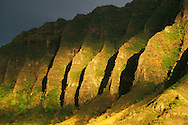 Hawaii, Oahu, Koolau mountain range in sunrise light.
