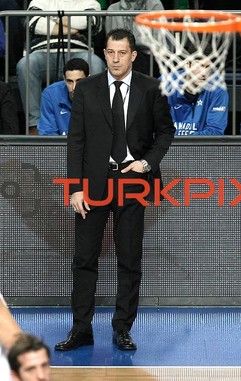 Anadolu Efes's coach Ufuk Sarica during their Turkish Basketball League match Anadolu Efes between Bandirma Kirmizi at Sinan Erdem Arena in Istanbul, Turkey, Saturday, December 24, 2011. Photo by TURKPIX