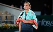 Fiona Ferro of France celebrates after winning against Elena Rybakina of Kazakhstan during the second round at the Roland Garros 2020, Grand Slam tennis tournament, on October 1, 2020 at Roland Garros stadium in Paris, France - Photo Rob Prange / Spain ProSportsImages / DPPI / ProSportsImages / DPPI