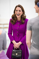 The Duchess of Cambridge watching Royal Ballet dancer during her visit to the Royal Opera House in London.