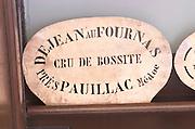 Stencil to mark wine case end. Chateau Le Fournas Bernadotte, Medoc, Bordeaux, France