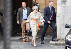 © Licensed to London News Pictures. 02/09/2019. London, UK. Former Prime Minister Theresa May leaves Parliament. Prime Minister Boris Johnson is expected to hold an emergency cabinet meeting later today. Photo credit: Peter Macdiarmid/LNP