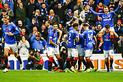 Andy Halliday of Rangers sits on Ryan Jack's shoulders following celebrations of Rangers 5th goal during the Ladbrokes Scottish Premiership match between Rangers and Motherwell at Ibrox, Glasgow, Scotland on Sunday 11th November 2018.