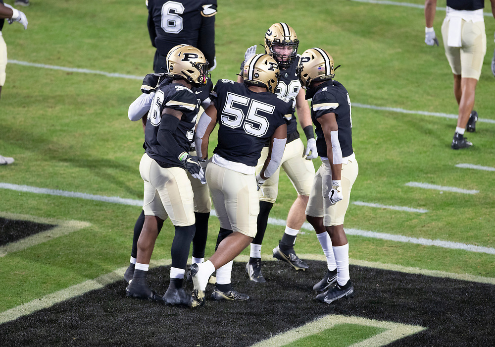 November 14, 2020:  Purdue defenders celebrate sack during NCAA football game action between the Northwestern Wildcats and the Purdue Boilermakers at Ross-Ade Stadium in West Lafayette, Indiana. Northwestern defeated Purdue 27-20.  John Mersits/CSM.