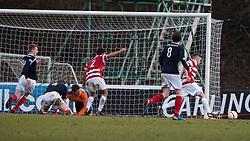 Hamilton's Andy Ryan scoring their goal..Hamilton 1 v 2 Falkirk, Scottish Cup quarter-final, Saturday, 2nd March 2013..©Michael Schofield.
