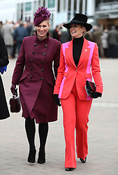 Zara Tindall and Chanelle McCoy during Ladies Day of the 2019 Cheltenham Festival at Cheltenham Racecourse.
