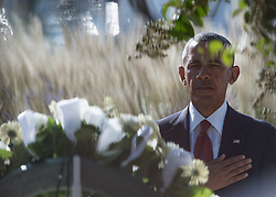 September 11, 2016 - Arlington, VA, United States of America - U.S President Barack Obama salutes after place a wreath at the Pentagon Memorial at a remembrance ceremony commemorating the 15th anniversary of the 9/11 terrorist attacks at the Pentagon September 11, 2016 in Arlington, Virginia. (Credit Image: © Po2 Dominique A. Pineiro/Planet Pix via ZUMA Wire)
