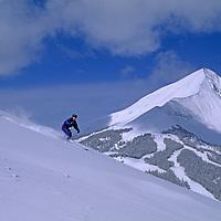 SKIING, Patrick Shanahan & Maclaren Johnson (MR) ski Stump Farm at Big Sky, Montana.