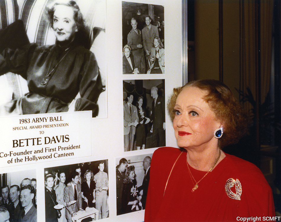 1983 Bette Davis at an army tribute, honoring her for co-founding the Hollywood Canteen