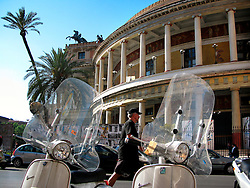 ITALY SICILY PALERMO 28APR08 - Vespa scooters and old building in the city centre of  Palermo, Sicily.. . jre/Photo by Jiri Rezac. . © Jiri Rezac 2008. . Contact: +44 (0) 7050 110 417. Mobile:  +44 (0) 7801 337 683. Office:  +44 (0) 20 8968 9635. . Email:   jiri@jirirezac.com. Web:    www.jirirezac.com. . © All images Jiri Rezac 2007 - All rights reserved.