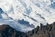 Emmons Glacier and Fryingpan Glacier (lower left) in Mount Rainier National Park, seen from near Chinook Pass on Highway 410 between Enumclaw and Yakima, Washington, USA.