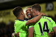 Roberto Firmino of Liverpool © celebrates after  scoring his sides 4th goal to make it 2-4 with Jordan Henderson of Liverpool and Philippe Coutinho of Liverpool. Premier League match, Crystal Palace v Liverpool at Selhurst Park in London on Saturday 29th October 2016.<br /> pic by John Patrick Fletcher, Andrew Orchard sports photography.
