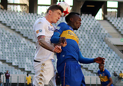 Slavko Damjanovic and Sibusiso Masina in the MTN8 semi-final first leg match between Cape Town City and Bidvest Wits at the Cape Town Stadium on Sunday 27 August 2017.