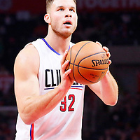 16 December 2015: Los Angeles Clippers forward Blake Griffin (32) is seen at the free throw line during the Los Angeles Clippers 103-90 victory over the Milwaukee Bucks, at the Staples Center, Los Angeles, California, USA.