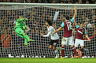 Marouane Fellaini of Manchester United (27) celebrates after scoring his sides 2nd goal to make it 0-2.  The Emirates FA cup, 6th round replay match, West Ham Utd v Manchester Utd at the Boleyn Ground, Upton Park  in London on Wednesday 13th April 2016.<br /> pic by John Patrick Fletcher, Andrew Orchard sports photography.