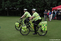 European Pipe Band Championships at Stormont Estate, Belfast, N Ireland, on 30 July 2011. St John Ambulance Cycle Response Unit routinely toured the Stormont Estate during the event. Included in their kit are defibrillators and oxygen supplies. Members of the unit are Glen Richie, Newtownards, Belfast, left, and Chris Robinson, Belfast. 201107304761.<br />