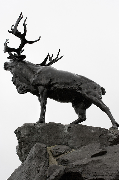 The Caribou Memorial, the emblem of the Royal Newfoundland Regiment, standing atop a mound of Newfoundland granite. Beaumont-Hamel Newfoundland Memorial is dedicated to the commemoration of the Newfoundland Regiment that fought in the battle of Somme and WWI in general. Most of the  Newfoundland Regiment were dead within 15 to 20 minutes of leaving their trench in the morning of the 1st July 1916 during the first day of the Battle of the Somme.
