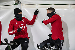 CARDIFF, WALES - Monday, November 18, 2019: Wales' Aaron Ramsey (L) and Chris Gunter during a training session at the Vale Resort ahead of the final UEFA Euro 2020 Qualifying Group E match against Hungary. (Pic by David Rawcliffe/Propaganda)