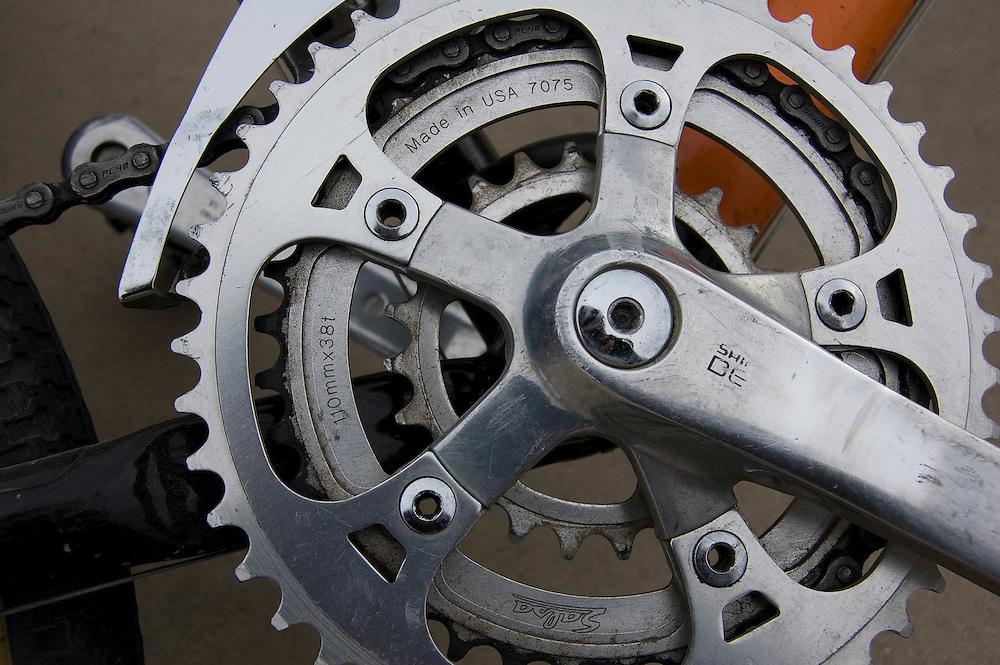 Chainrings on old mountain bike. Bike-tography by Martha Retallick.