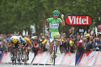CYCLING - TOUR DE FRANCE 2012 - STAGE 3 - Orchies > Boulogne-sur-Mer (197 km) - 03/07/2012 - PHOTO MANUEL BLONDEAU / DPPI - LIQUIGAS CANNONDALE TEAMRIDER PETER SAGAN OF SLOVAKIA CELEBRATES