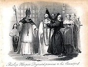 John Hooper (c1500-1555), Bishop of Gloucester and Worcester. English Protestant martyr burned for heresy under Mar I, 9 February 1555.  Hooper being degraded by Bishop Bonner before his execution.  From 'Christian Martyrdom', London, 1838.