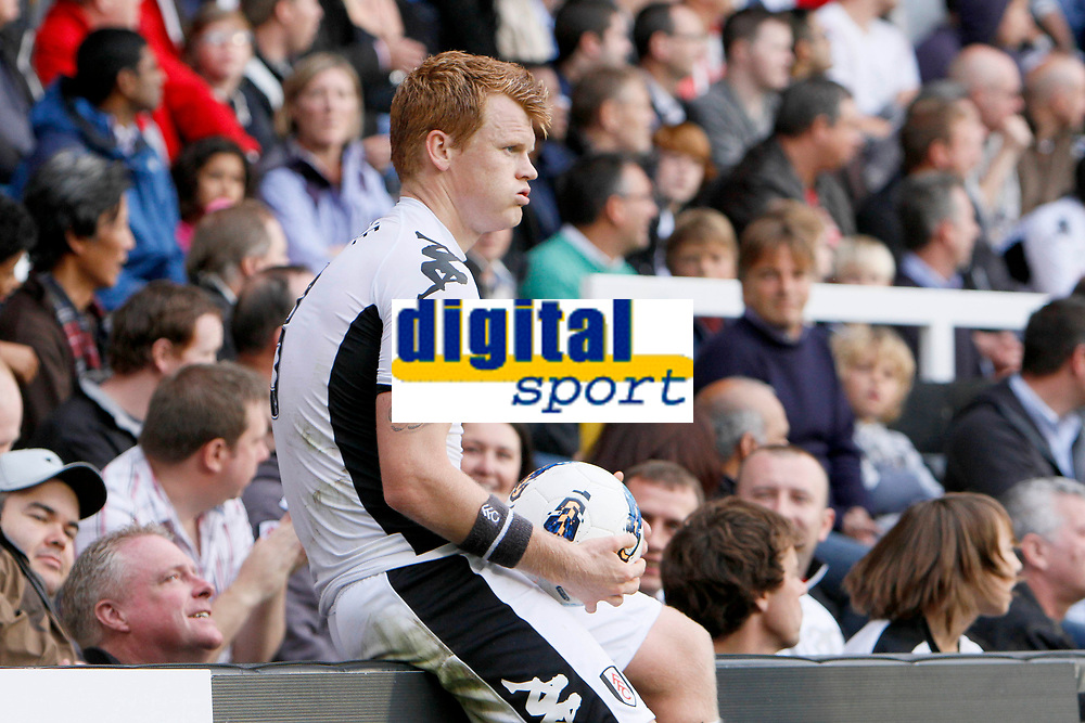 Football - Premier League - Fulham vs. Manchester City<br /> <br /> Fulham's John Arne Riise takes a breather at Craven Cottage